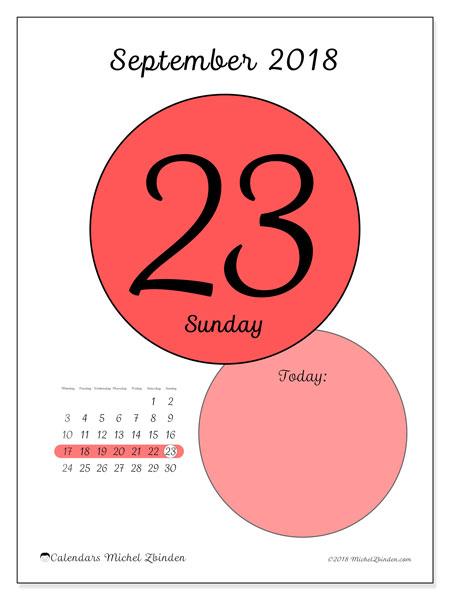Calendar September 2018 (45-23MS). Calendar for the day to print free.