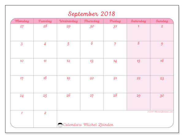 calendar september 2018 76ms free planner to print