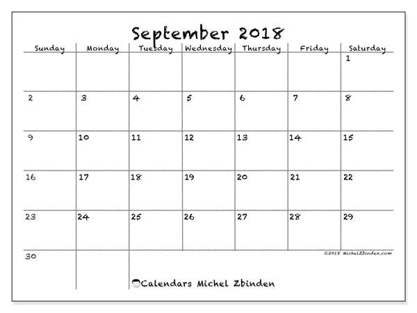 Calendar September 2018 (77SS) - Michel Zbinden EN