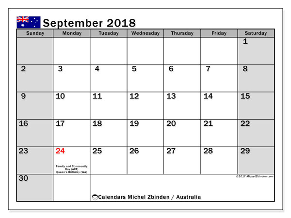 Calendar September 2018, with the holidays of Australia. Monthly planner to print free.