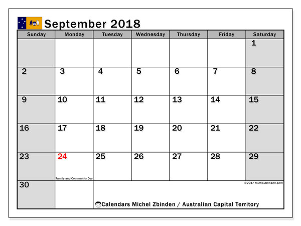 Calendar September 2018, with the holidays of Australian Capital Territory. Calendar to print free.