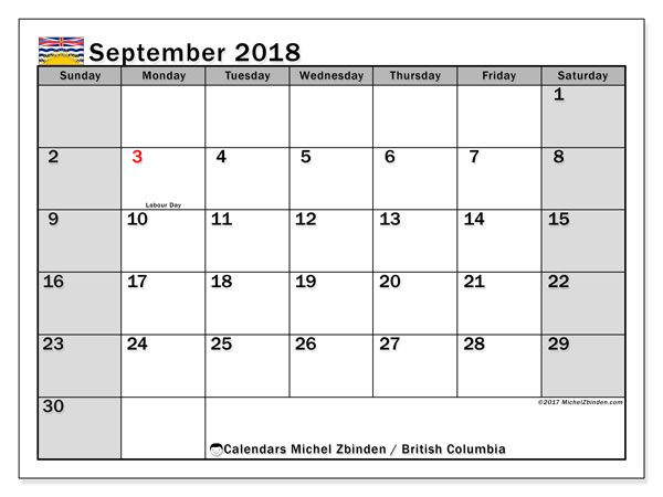 Calendar September 2018, with the holidays of British Columbia. Monthly planner to print free.