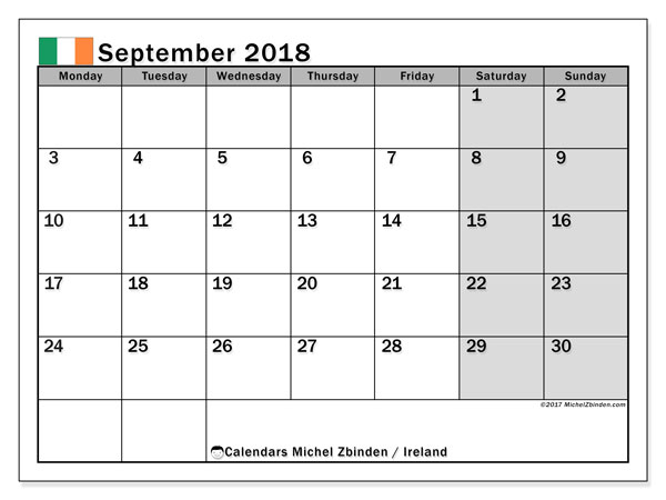 Calendar September 2018, with the holidays of Ireland. Free printable monthly calendar.