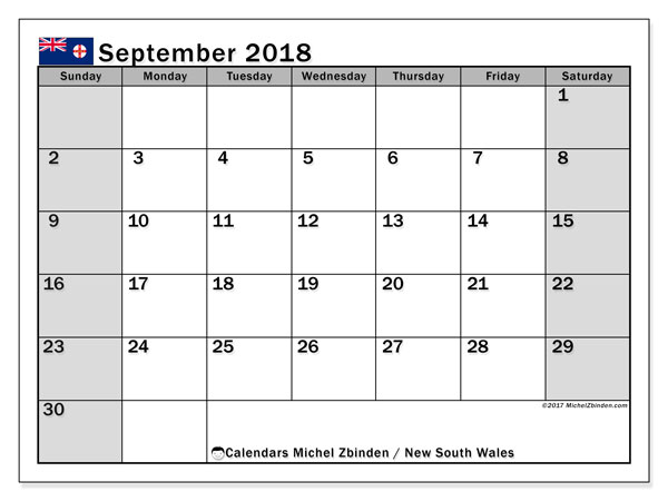 Calendar September 2018, with the holidays of New South Wales. Free printable bullet journal.