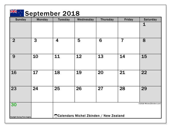 Calendar September 2018, with the holidays of New Zealand. Monthly calendar to print free.