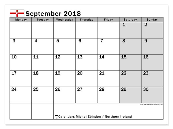 Calendar September 2018, with the holidays in Northern Ireland. Calendar to print free.
