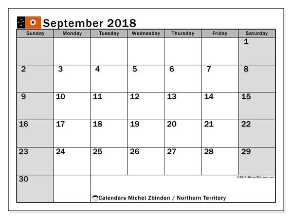 Calendar September 2018, with the holidays of Northern Territory. Free printable planner.