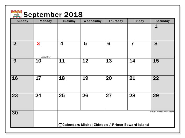 Calendar September 2018, with the holidays of Prince Edward Island. Calendar for the month to print free.