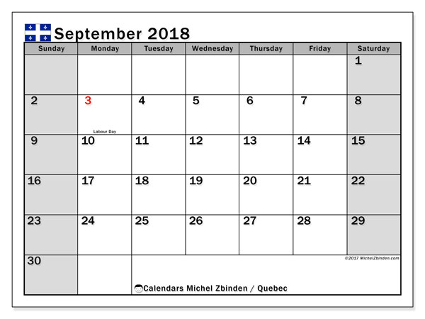 Calendar September 2018, with the holidays of Quebec. Free printable planner.