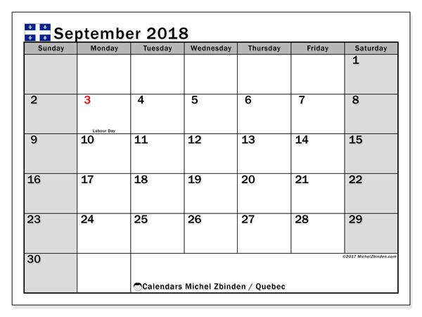 Calendar September 2018, with the holidays of Quebec. Calendar to print free.
