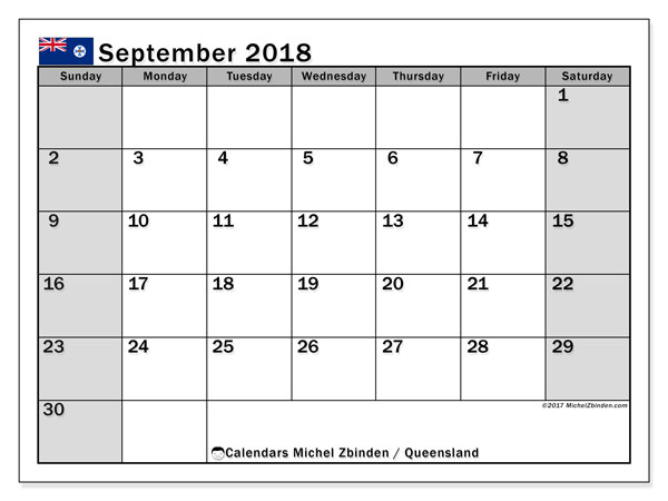 Calendar September 2018, with the holidays of Queensland. Free printable planner.