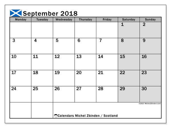 Free printable calendar September 2018, with the holidays of Scotland. Monthly calendar.