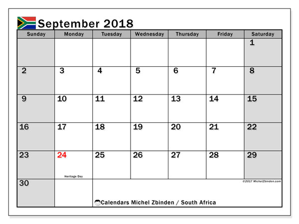 Calendar September 2018, with the holidays of South Africa. Calendar for the month to print free.