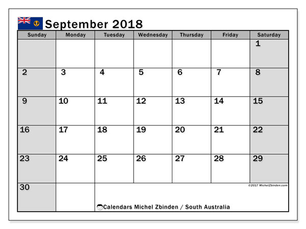 Calendar September 2018, with the holidays of South Australia. Bullet journal to print free.