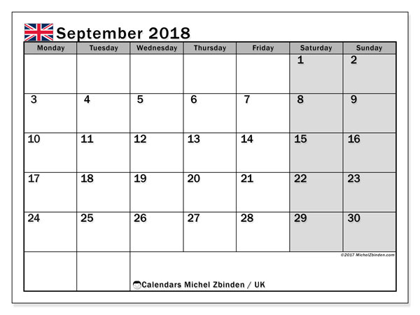 Calendar September 2018, with the holidays of the UK. Free calendar to print.