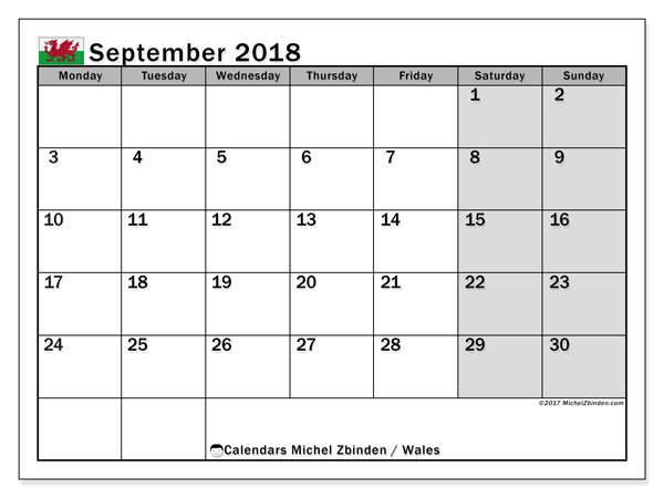 Calendar September 2018, with the holidays of Wales. Monthly calendar to print free.