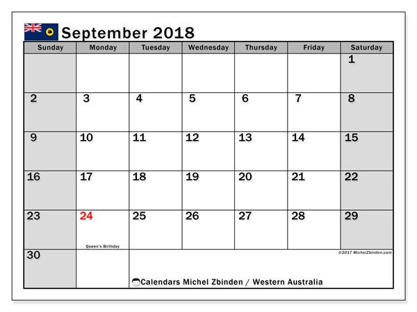 Calendar Monthly Nz : Calendar september western australia michel