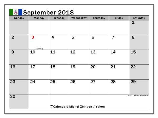 Calendar September 2018, with the holidays of Yukon. Free calendar to print.
