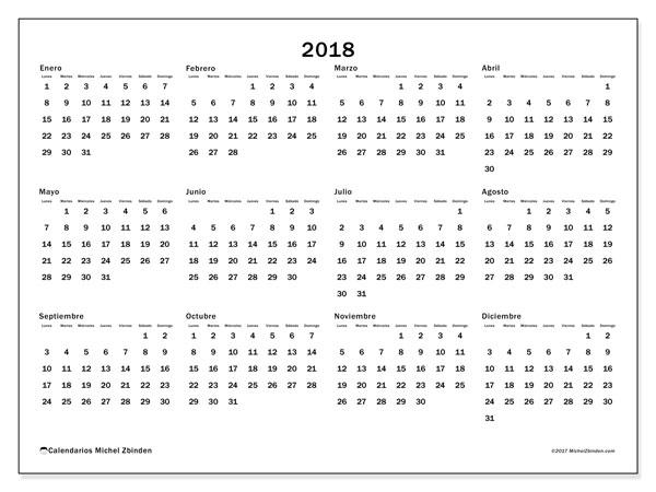 Calendario 2018 (32LD). Calendario imprimible gratis.