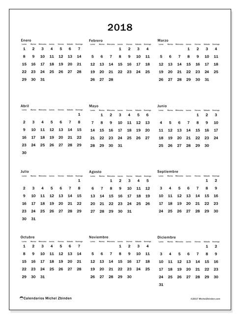 Calendario 2018 (33LD). Almanaque para imprimir gratis.