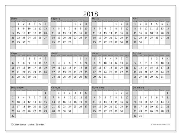 Calendario 2018 (35DS). Calendario anual para imprimir gratis.