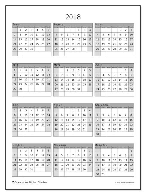 Calendario 2018 (37DS). Calendario para el año para imprimir gratis.