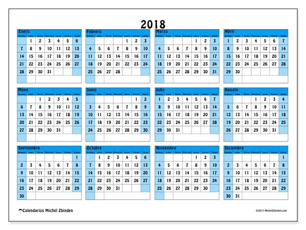 Calendario 2018 (39DS). Calendario gratuito para imprimir.