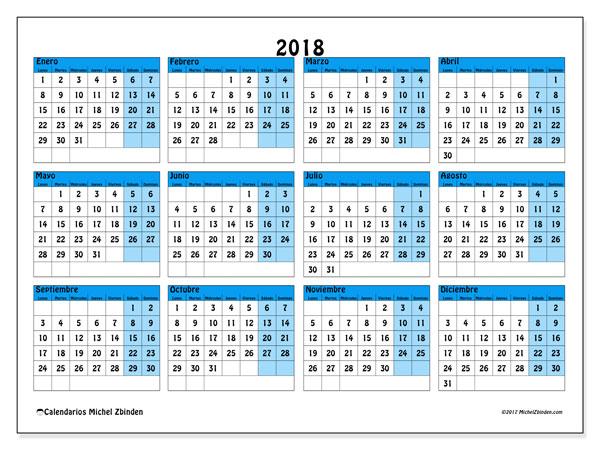 Calendario 2018 (39LD). Calendario para imprimir gratis.