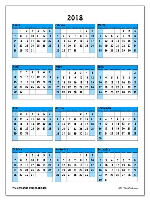 Calendario 2018 (40DS). Calendario imprimible gratis.