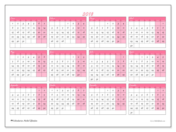 Calendario 2018 (41LD). Calendario para el año para imprimir gratis.