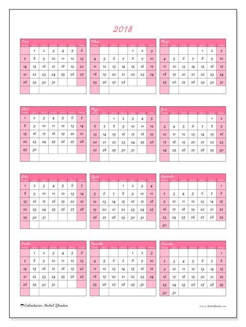 Calendario 2018 (42DS). Calendario imprimible gratis.