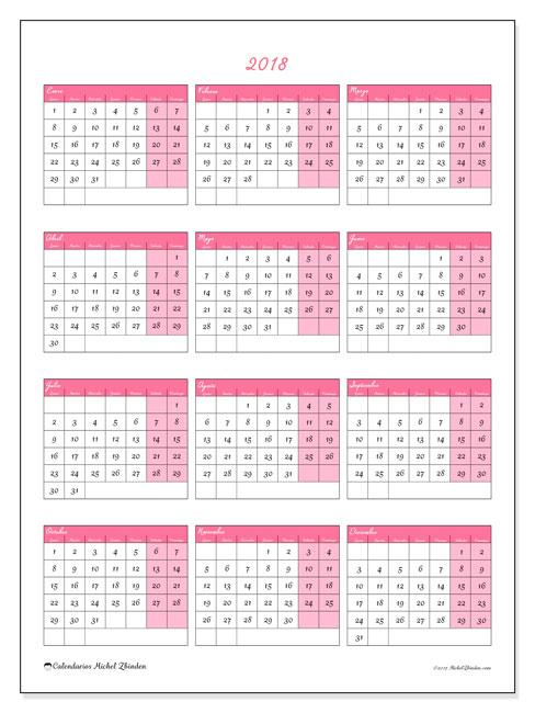 Calendario 2018 (42LD). Calendario anual para imprimir gratis.