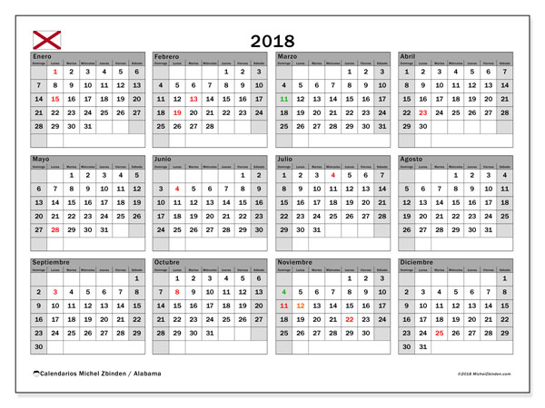Calendario 2018, con los días feriados en Alabama. Calendario para imprimir gratis.