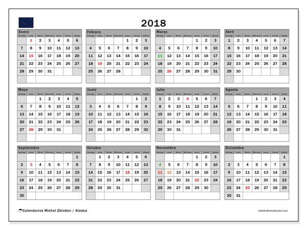 Calendario 2018, con los días feriados en Alaska. Calendario gratuito para imprimir.