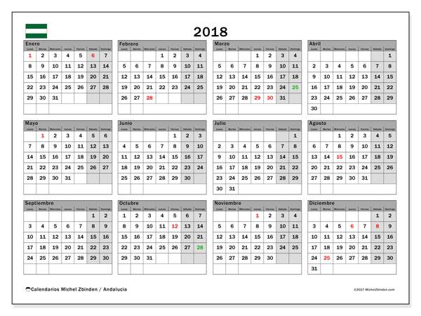 Calendario 2018, con los días festivos de Andalucia. Calendario para el mes para imprimir gratis.