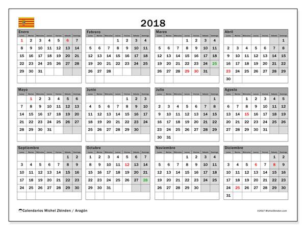 Calendario 2018, con los días festivos de Aragón. Calendario mensual para imprimir gratis.