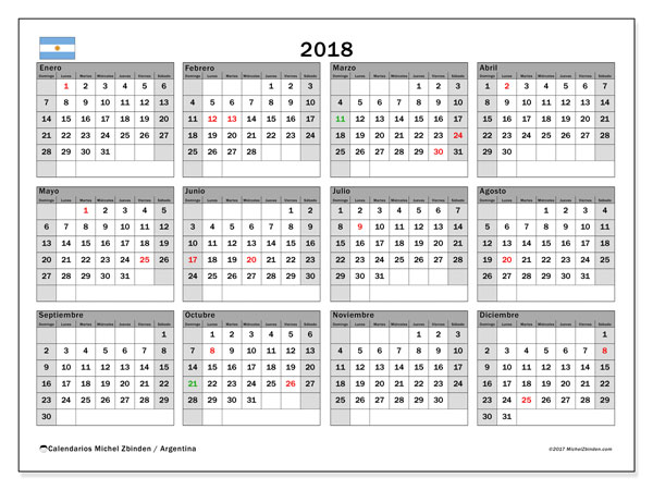 Calendario 2018, con los días feriados en Argentina. Almanaque para imprimir gratis.