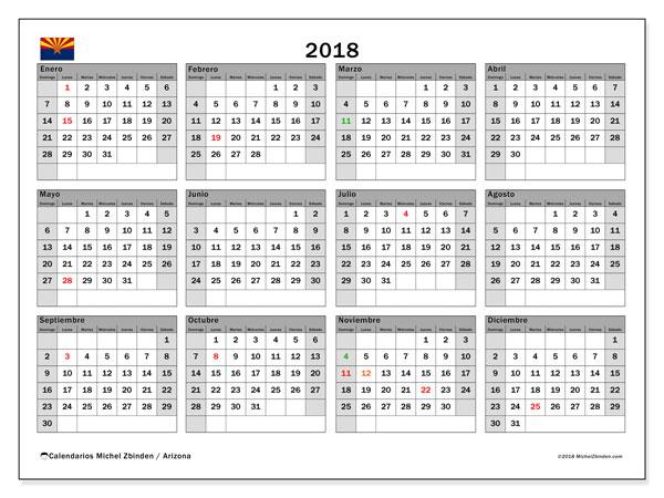 Calendario 2018, con los días feriados en Arizona. Calendario mensual para imprimir gratis.