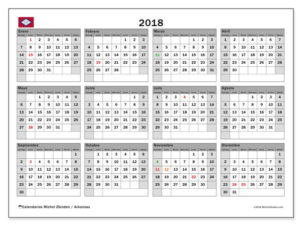 Calendario 2018, con los días feriados de Arkansas. Calendario gratuito para imprimir.