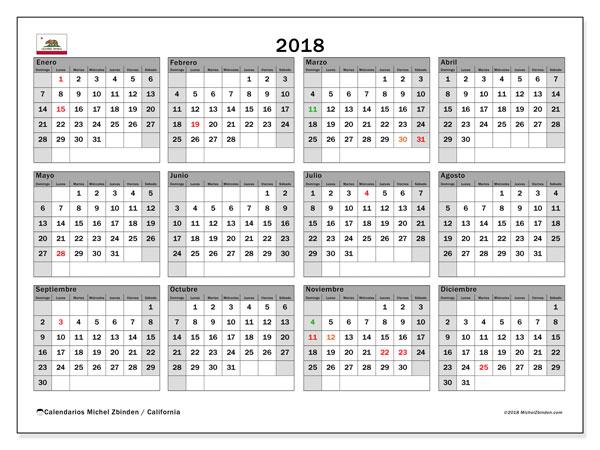 Calendario 2018, con los días feriados en California. Calendario para imprimir gratis.