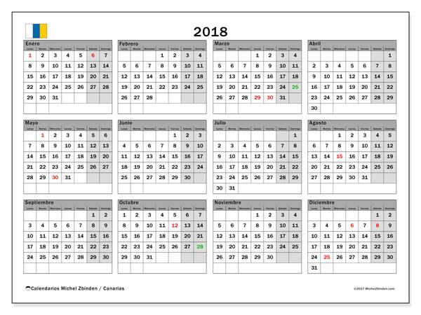 Calendario 2018, con los días festivos de las Islas Canarias. Calendario mensual para imprimir gratis.