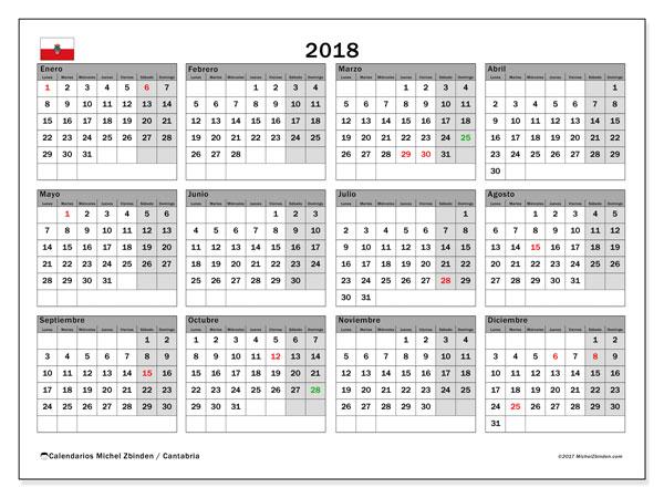 Calendario 2018, con los días festivos de Cantabria. Calendario mensual para imprimir gratis.