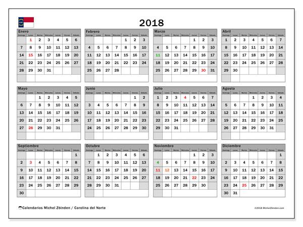 Calendario 2018, con los días feriados en Carolina del Norte. Almanaque para imprimir gratis.