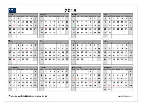 Calendario 2018, con los días feriados en Carolina del Sur. Almanaque para imprimir gratis.