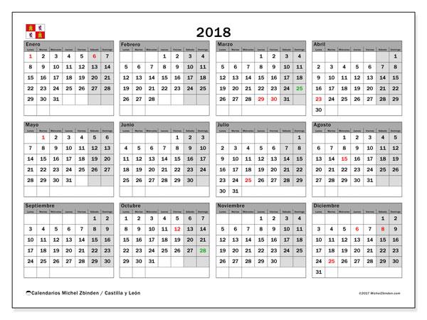 Calendario 2018, con los días festivos de Castilla y León. Calendario mensual para imprimir gratis.