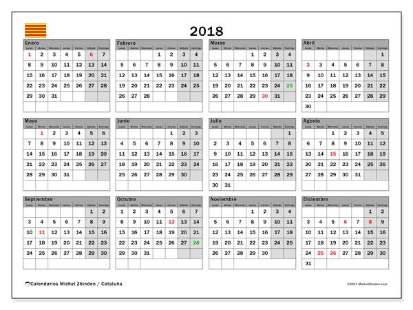 Calendario 2018, con los días festivos de Cataluña. Almanaque para imprimir gratis.