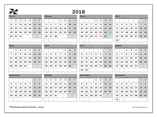 Calendario 2018, con los días festivos de Ceuta. Calendario gratuito para imprimir.