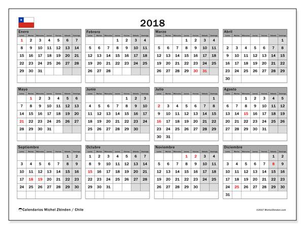 Calendario 2018, con los días feriados para Chile. Almanaque para imprimir gratis.