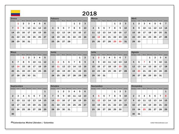 Calendario 2018, con los días festivos en Colombia. Almanaque para imprimir gratis.