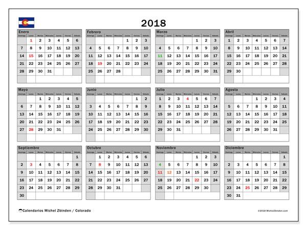 Calendario 2018, con los días feriados enColorado. Calendario imprimible gratis.